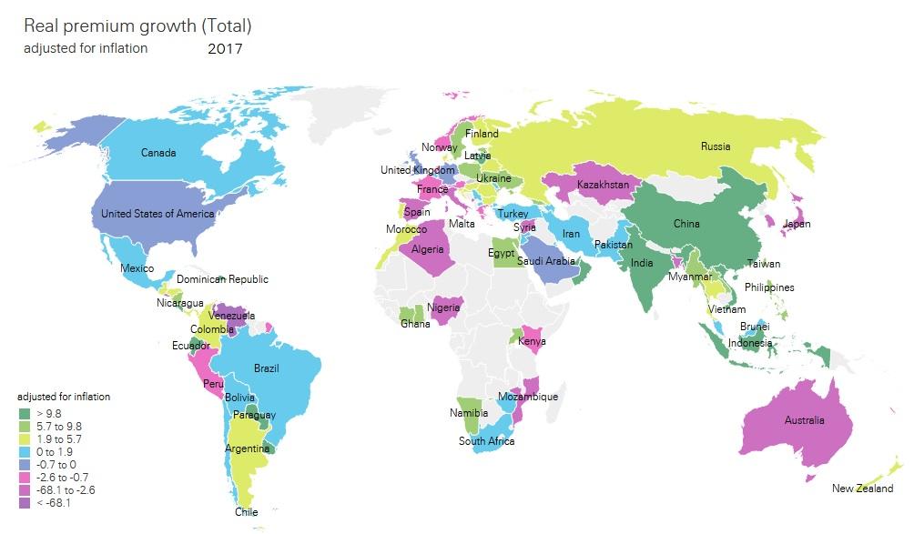 Mappa Crescita premi totale 2017