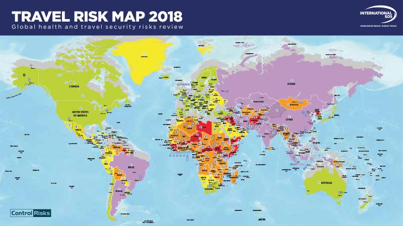 Seguro de viaje, mapa de riesgos 2018
