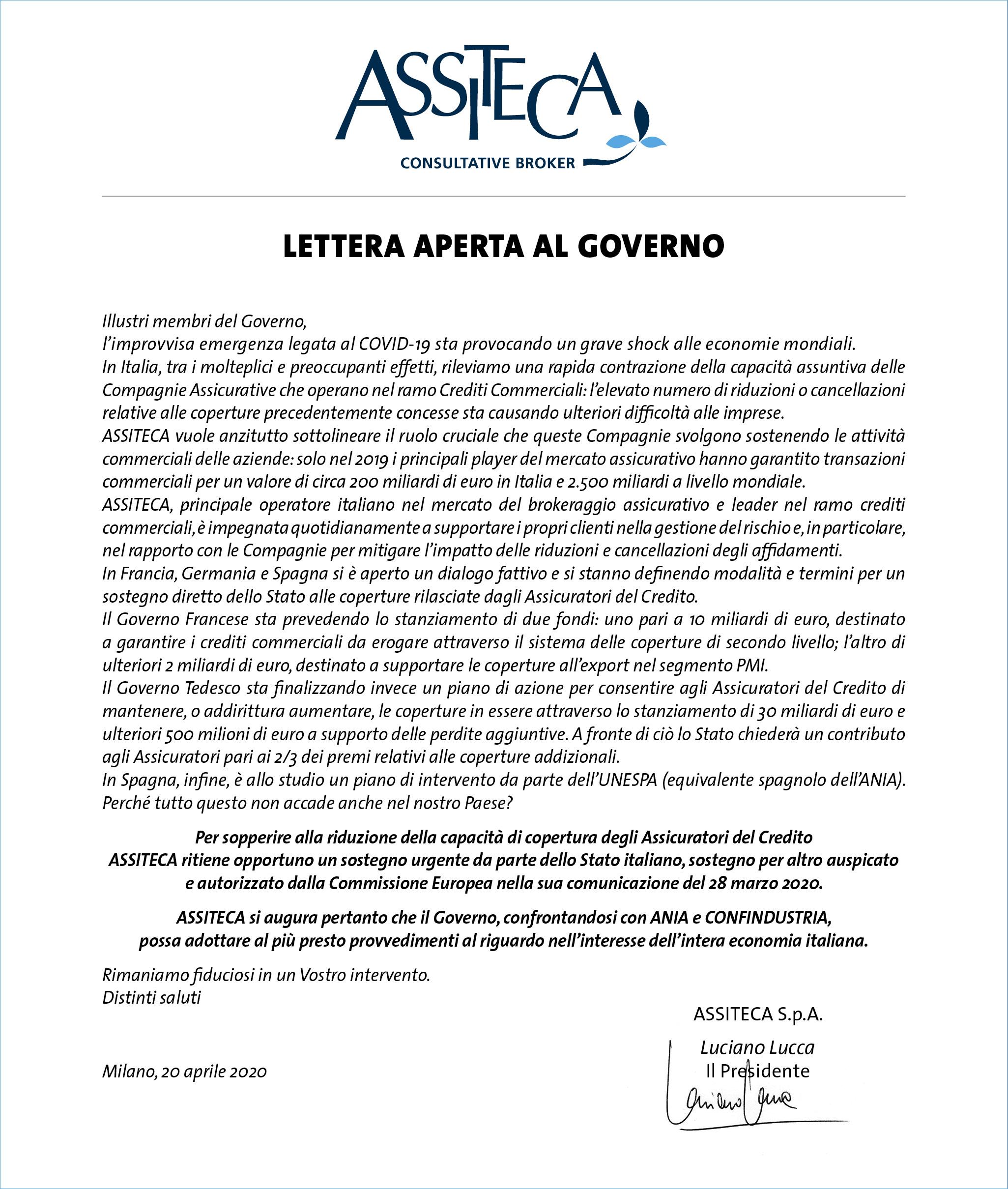 Lettera aperta ASSITECA al Governo