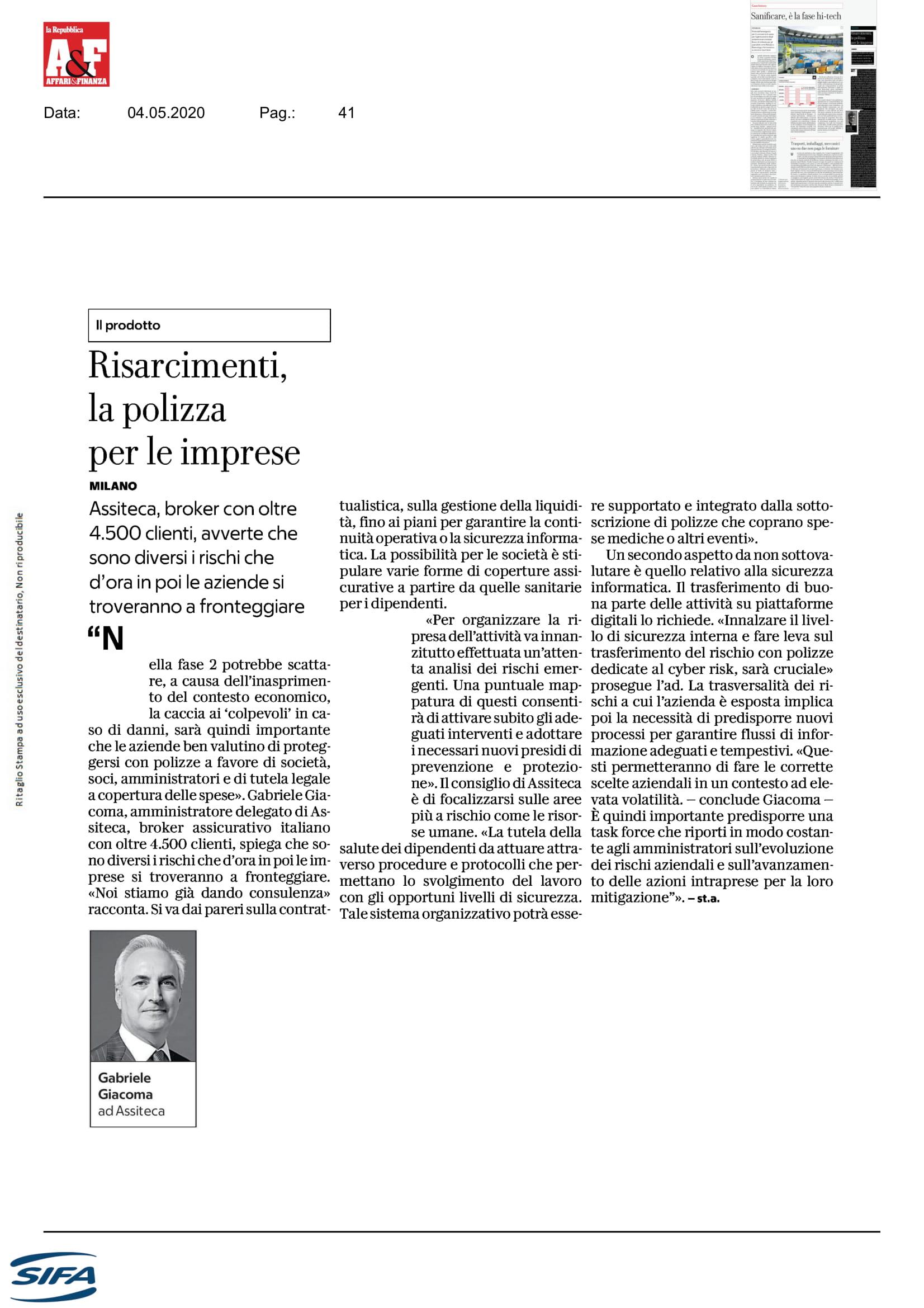 AFFAReFINANZA_Risarcimenti la polizza per le imprese_Intervista Giacom